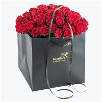 60 røde roser i gavepose