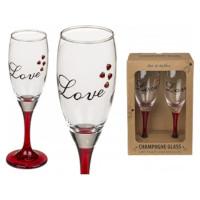 Champagneglass Love med hjerter