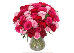 Rund bukett med blandede roser
