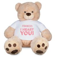 Gigant-teddybjørn med t-skjorte med trykk