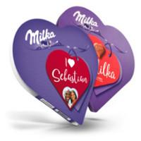 Milka hjerte med navn og bilde