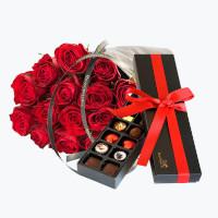 15 røde roser med Luksuskonfekt